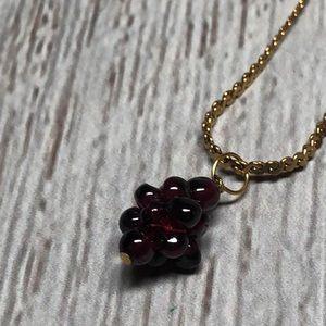 Vintage Cluster Of Purple Grapes Necklace